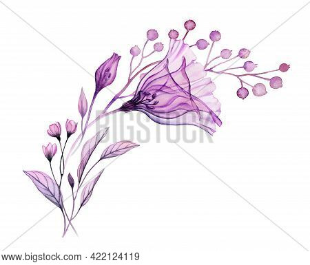 Watercolor Floral Arch. Purple Eustoma Flowers, Berries And Leaves. Corner Design Element. Transpare
