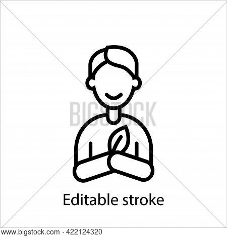 Man Ecologist With Leaf Outline Icon. Customizable Linear Contour Symbol. Editable Stroke. Isolated