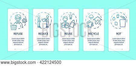 Zero Waste App Page Screen With Concepts. Refuse, Reduce, Reuse, Recycle, Rot Ideas. Save The Planet