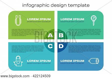 Set Line Kitchen Apron, Meat Tongs, Salami Sausage And Thermometer. Business Infographic Template. V