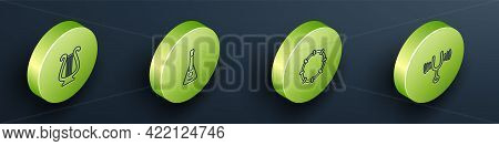 Set Isometric Line Ancient Lyre, Guitar, Tambourine And Musical Tuning Fork Icon. Vector