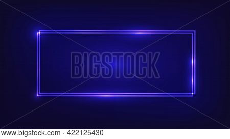 Neon Double Rectangular Frame With Shining Effects On Dark Background. Empty Glowing Techno Backdrop
