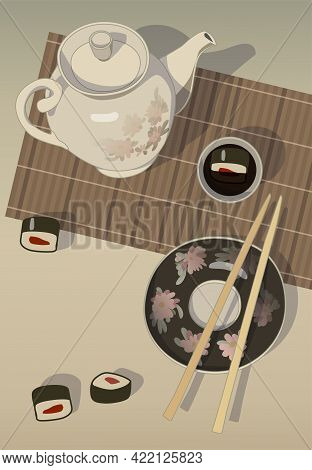 Still Life With Rolls, Mat, Soy Sauce And Teapot, Vector.