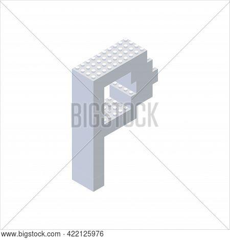 Isometric Font Made From Color Plastic Blocks. The Children S Designer. Letter P. Vector Illustratio