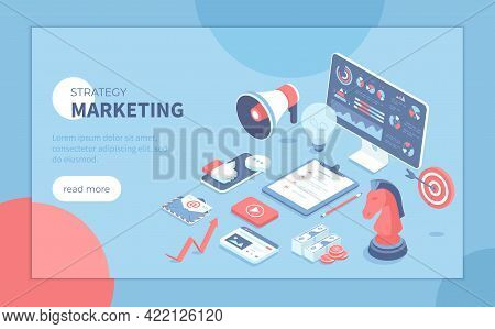 Marketing Strategy. Start Up, Achieving Company Goals, Business Success. Business Planning, Organiza