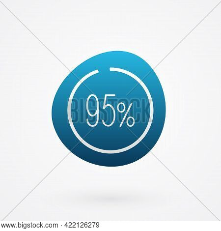 95 Percent Isolated Pie Chart. Vector Infographic Gradient Icon. Sign For Business, Finance, Web Des