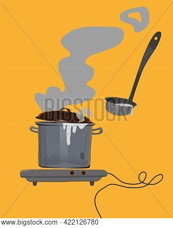 A Saucepan On The Stove With Boiling Milk And A Ladle.