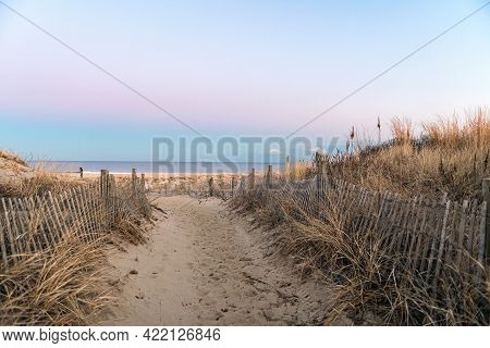 A Beach Path At Dusk In Long Branch Along The Jersey Shore.