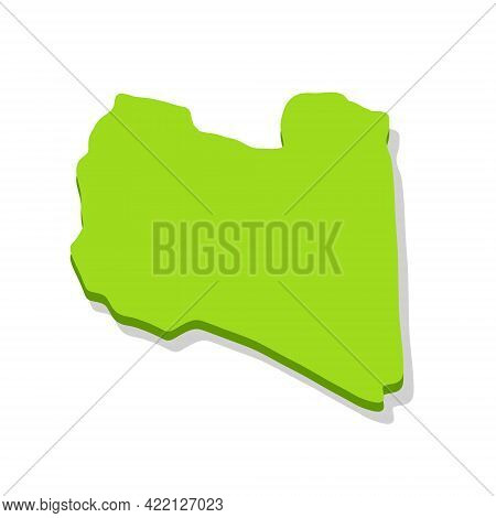 Map Of Libya. Borders Of A State In North Africa. Green Area. Flat Cartoon