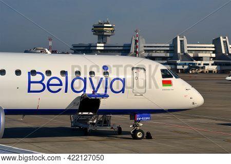 Minsk, Belarus - Sep 10, 2019: Minsk National Airport - Main International Airport In Belarus On Sep