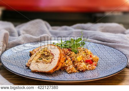 Grilled Stuffed Pork With Bulgur And Herbs. Close Up