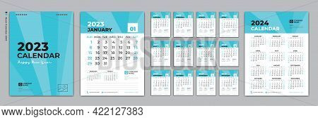Set Desk Calendar 2023 Design, Calendar 2023 Template And Set Of 12 Months, Calendar 2024 Design Pos