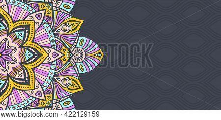 Horizontal Mandala Banner. Decorative Flower Mandala Background With Place For Text. Color Mandala O