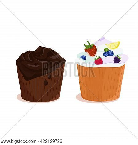 A Set Of Two Chocolate And Berry Cupcakes. Sweet Delicious Cupcake, Creamy Cake, Vector Illustration