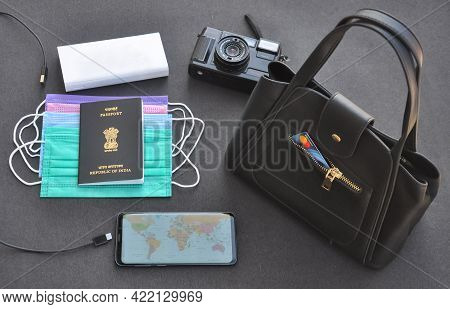 Mandi, Himachal Pradesh, India - 04 24 2021: Photo Of Important Things For International Travel Duri
