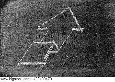 White Chalk Draw As Upward Arrow Graph On Blackboard Or Chalkboard Background (concept For Sale, Pro