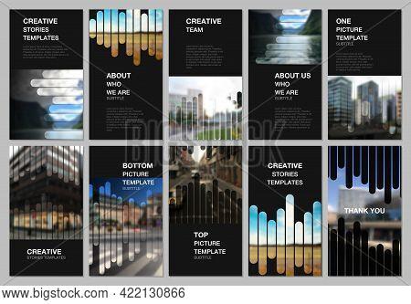 Social Networks Stories Design, Vertical Banner Or Flyer Templates. Covers Template For Flyer, Leafl