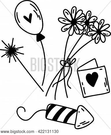 Set Of Doodle Party Elements. Hand-drawn Vector Illustration With Daises, Balloon, Gift Card, Sparkl