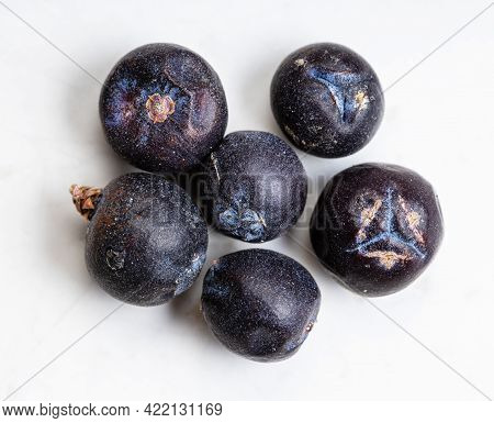 Few Dried Juniper Berries Close Up On Gray Ceramic Plate