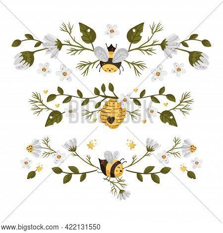 Honey Bee Cartoon Frame Border. Vector Frame Element. Greeting Postcard Advertisement Divider.