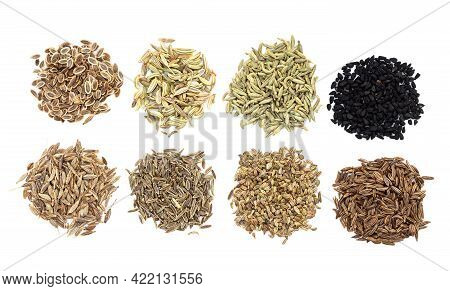 Piles Of Various Caraway Like Fruits (dill, Fennel, Anise, Nigella, Cumin, Elwendia, Ajwain, Caraway