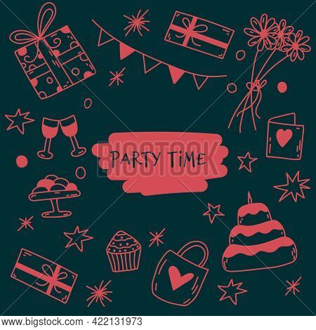 Vector Doodle Birthday Background. Hand-drawn Illustration With Sweets, Daises, Party Flags, Gift Bo