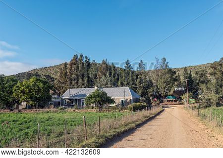 Kruisrivier, South Africa - April 6, 2021: The Road Junction At Kruisrivier In The Western Cape Karo