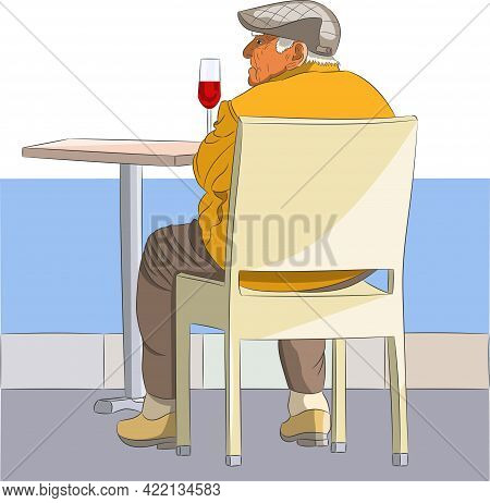 The Old Man Is Resting With A Glass Of Wine At A Table On The Embankment