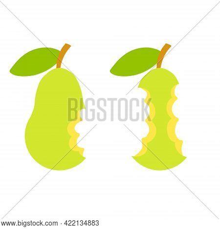 Green Pear Core. Flat Cartoon Illustration. Bitten Sweet Fruit. Garbage And Food