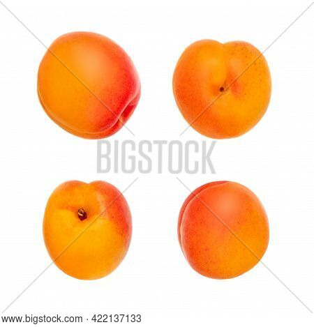Creative Layout Made Of Isolated Apricots. Fresh Apricot  Fruits On White Background, Top View, Flat