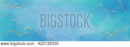 Blue Watercolor Hand Drawn Banner Template. Modern Artistic Watercolour Wallpaper. Web Design Elemen
