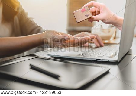Woman Online Shopping And Home Delivery Concept. Social Distancing And New Normal Daily Lifestyle.
