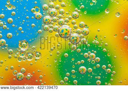 Rainbow Background With Bubbles, Water Drops Texture, Abstract Multicolor Circles Pattern, Creative