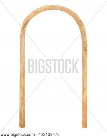 Watercolor Wooden Archway. Hand Drawn Wedding Arch With Wood Texture Isolated On White. Geometric Se