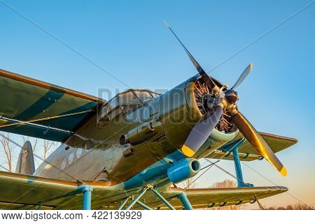 An Old Passenger Military Aircraft With A Propeller And Blades, From The Time Of The Second World Wa
