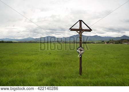Crucifixion Of Jesus In The Green Field