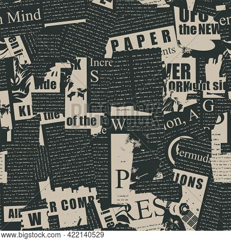 Abstract Seamless Pattern With A Collage Of Old Magazine And Newspaper Clippings. Vector Background