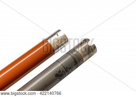 Red And Gray, Worn And New Heating Top Shafts, Toner Fixing Rollers, Laser Printer Parts, Copier Par