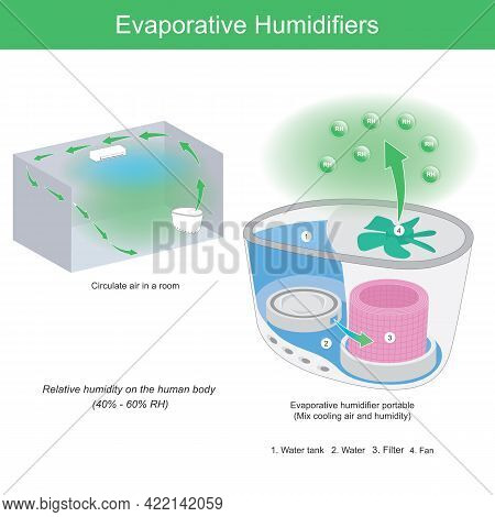 Evaporative Humidifiers. Illustration Showing Structure Inside Evaporative Humidifier And Using Work