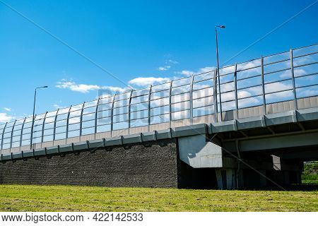 Underside Of An Elevated Roads. Viaduct On The Motorway. Summer Background. Business Card. Highway R