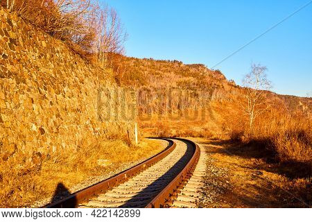 Photography Of Russian Railway In Autumn Day With Yellow Color Around. Travel Concept And Landscape