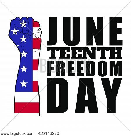 Human Fist With Flag Of Liberia Pattern With Text, Juneteenth Independence Day. Freedom Or Emancipat
