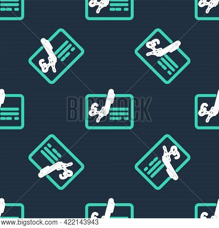 Line Signed Document Line Icon Isolated Seamless Pattern On Black Background. Pen Signing A Contract