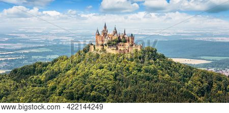 Hohenzollern Castle On Mountain Top, Panoramic View Of German Burg Like Medieval Castle, Germany. It