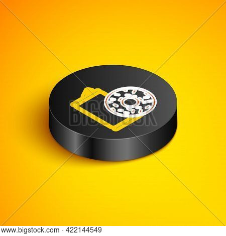 Isometric Line Aluminum Can Soda And Donut Icon Isolated On Yellow Background. Fast Food Symbol. Bla