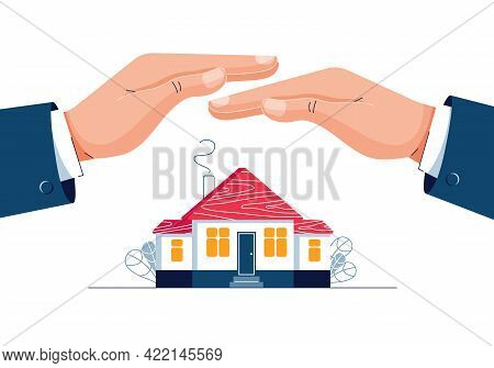 Property Insurance Concept. Male Hands Are Covering The House Building. Real Estate Protection, Home