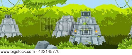 Maya Ancient Pyramid Vector Seamless Background, Jungle Outline Landscape, Mexico Stone Temple. Azte