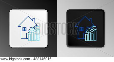 Line Rising Cost Of Housing Icon Isolated On Grey Background. Rising Price Of Real Estate. Residenti
