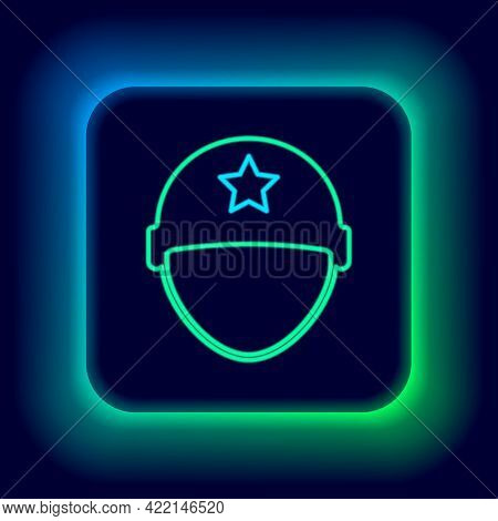 Glowing Neon Line Military Helmet Icon Isolated On Black Background. Army Hat Symbol Of Defense And