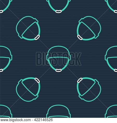 Line Military Helmet Icon Isolated Seamless Pattern On Black Background. Army Hat Symbol Of Defense
